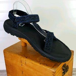Men's Teva Black/Blue Wave Print Sandals 14